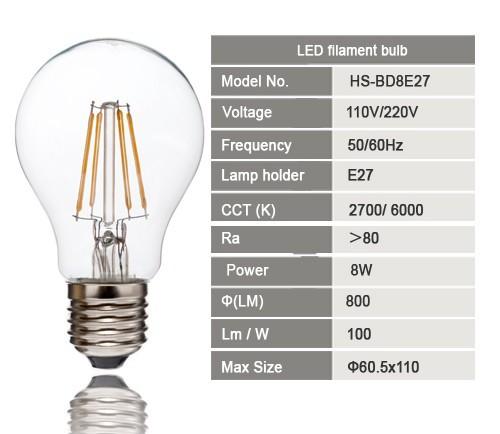 E27 Filament 8W